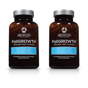 Two Bottles of FoliGROWTH Ultimate Hair Growth Vitamin - high potency Biotin, Folic Acid, 28 herbs & vitamins
