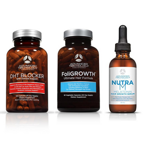 DHT Blocker with Immune Support, NutraM Hair Growth Scalp Serum and FoliGROWTH Vitamin - Bundle