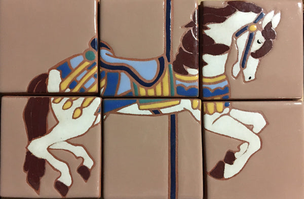 "Carousel Pony (hand painted), 8"" x 12"" Mural<br/>Art Tiles<br/>4"" x 4"" each, 6 tiles"