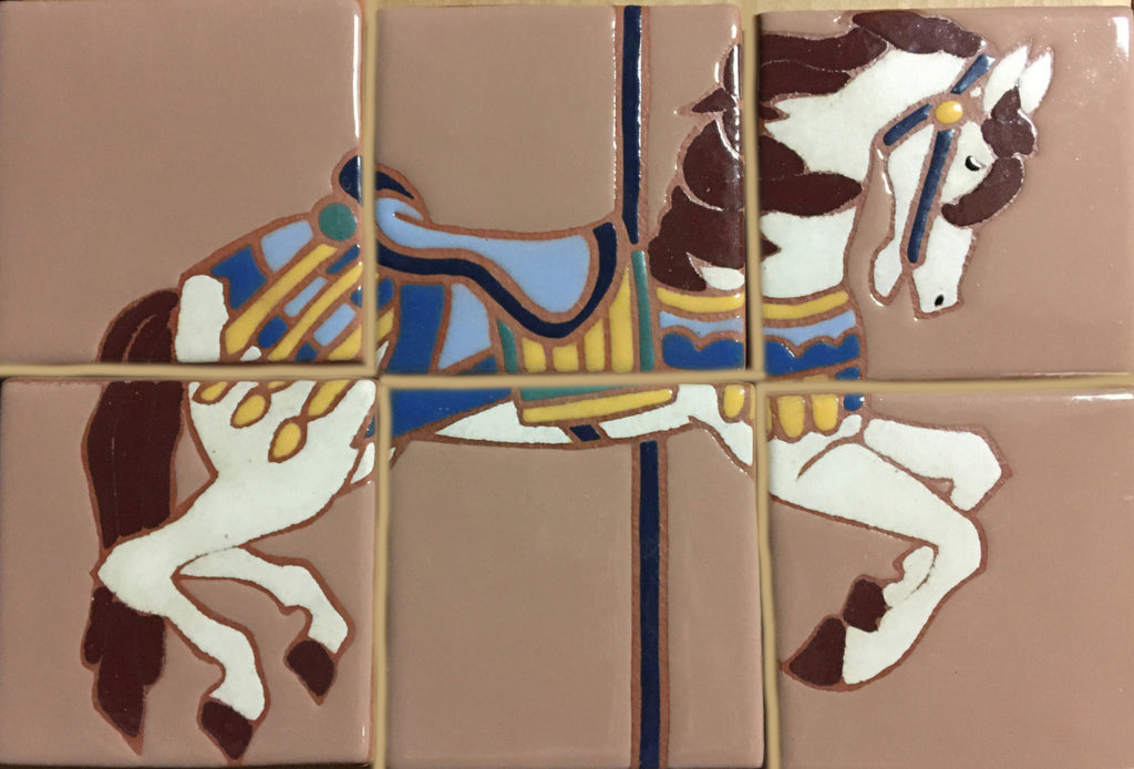 "Carousel Pony (hand painted), 6 tiles, 8"" x 12"" Mural"