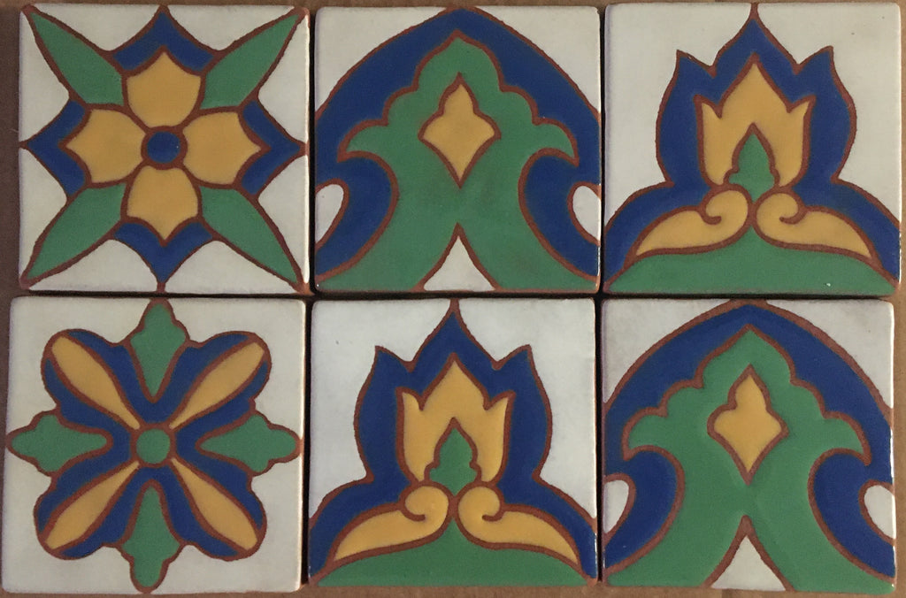 "Cuerda Seca (hand painted tiles)<br/><br/>4"" x 4"" each"