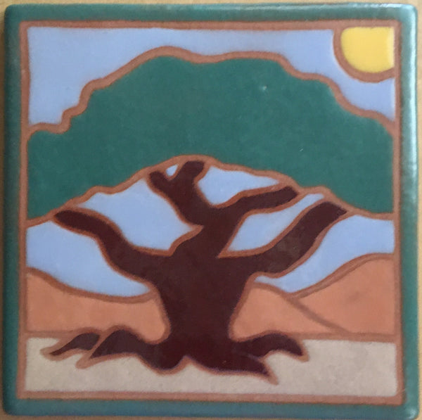 "Cypress Tree (hand painted)<br/>Art Tile<br/>6"" x 6"""