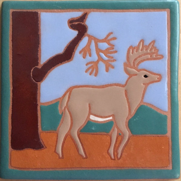 "Deer (hand painted)<br/>Art Tile<br/>6"" x 6"""
