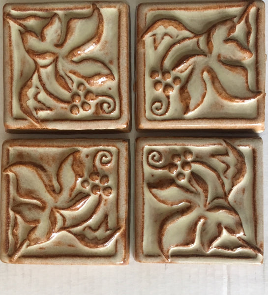 "Grape Leaves<br/>Art Tile<br/>4"" x 4"" (4 tiles)"