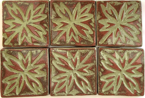 "Maple Leaf, 6 tiles<br/>Vintage<br/>4"" x 4"" each"