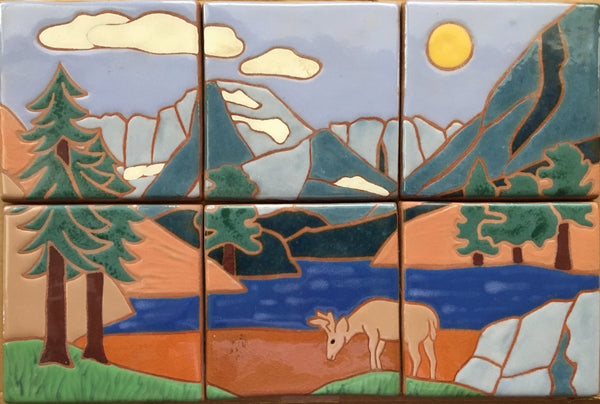 "Mountain Scene (hand painted), 12"" x 18"" Mural<br/>Art Tiles<br/>6"" x 6"" each"