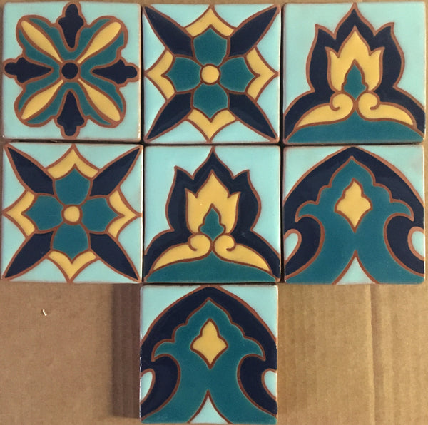 "Cuerda Seca (hand painted tiles)<br/>Art Tile<br/>4"" x 4"" each"