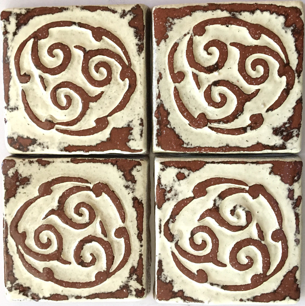 "Circular Scroll<br/>Art Tile<br/>3"" x 3"" (4 tiles per set)"