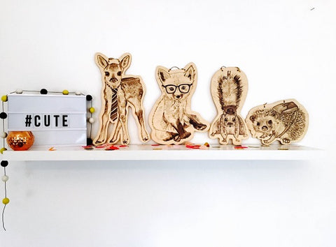 woodland critters bamboo hangers