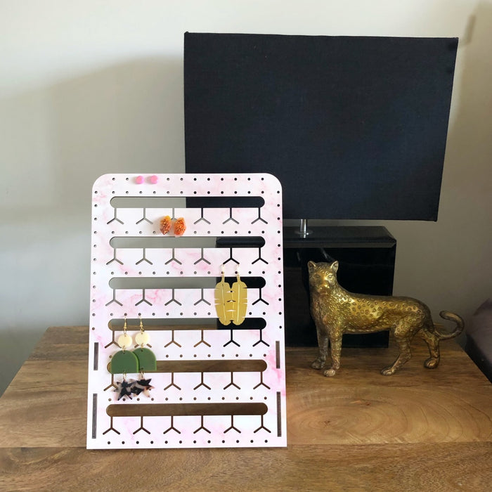 PINK MARBLE STANDING BUNNY-NOSE™ EARRING HOLDER - 2 SIZES
