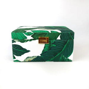 TROPICAL LEAVES CANVAS JEWELLERY BOX
