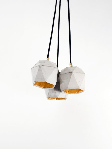 Diamond Pendant 3 Light Cluster Natural Concrete - Slab Homewares