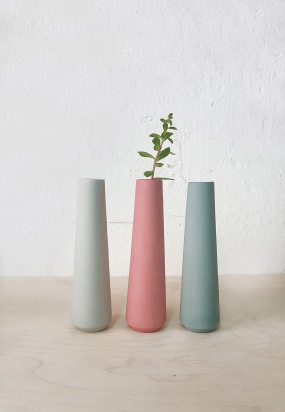 Flower vase, wedding vases, ceramic vase, single flower vase, wedding table centerpiece, dining table decorations, wedding table decorations - Slab Homewares