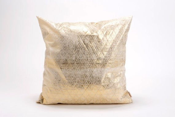 Bling cushion, Metallic Foil Print On Fabric Linen 50x30