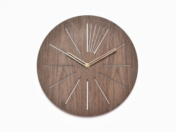 Modern wooden clock 40 cm - 16 in | geometric clock | laser cut wall clock | veneer wall clock|  decorative clock | - Slab Homewares