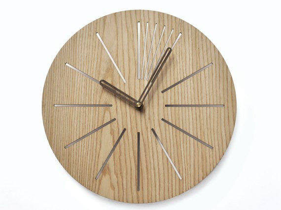 Industrial 30cm wall clock | Modern wooden clock |  Geometric clock | Laser cut wall clock | Veneer wall clock | Decorative clock