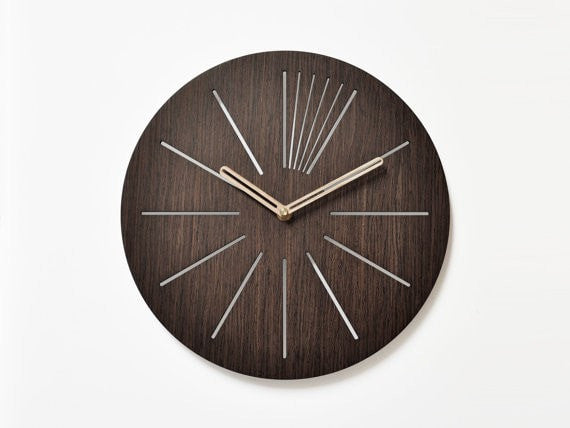 unique wall clocks 40 cm - 16 in  | wooden wall clock | modern wooden clock  | designer wall clock |  decorative clock | - Slab Homewares