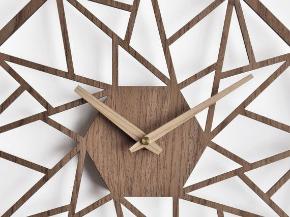 wooden wall clock 40 cm - 16 in  |  geometric clock | laser cut wall clock | veneer wall clock | walnut wall clock | decorative clock - Slab Homewares