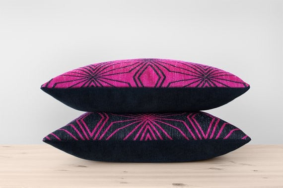 Black and Pink Pillow Cover Hot Pink Geometric Pillow Modern Black Cushion Candy Pink Throw Pillow Black Wool Designer Pillow 18x18 20x20 - Slab Homewares