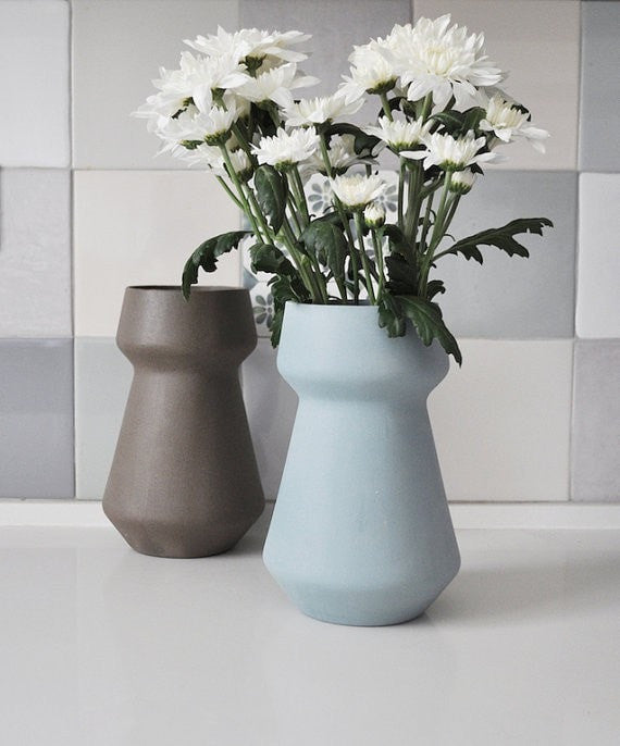 modern teal vase, turquoise ceramic flower pot, ceramic flower vases, turquoise vase, modern minimalist home decor, wedding vase centerpiece - Slab Homewares