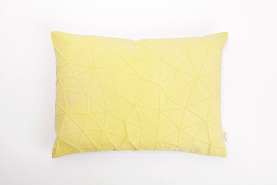 Irad pillow, White and Yellow origami cover 55x40 cm
