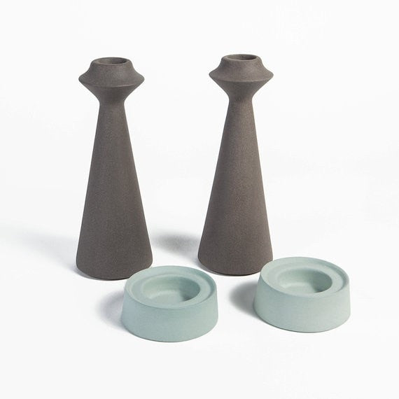 Modern candle holder centerpiece, ceramic candlestick holders, candle holders for wedding, Candle holder set, Shabbat candlesticks, Judaica - Slab Homewares