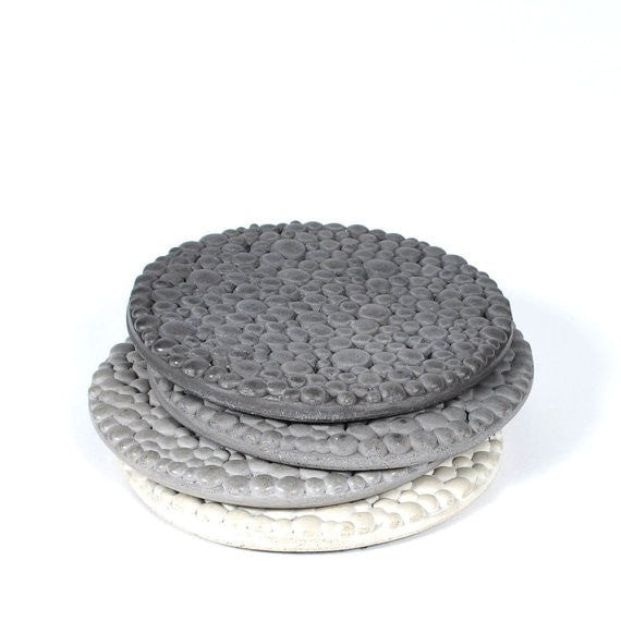Concrete Coaster Set, Textured, Grey Gradient - Slab Homewares