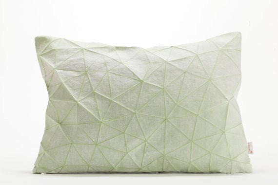 "Irad pillow, White and Light Green origami throw pillow cover 55x40 cm, 21.6X16 "","