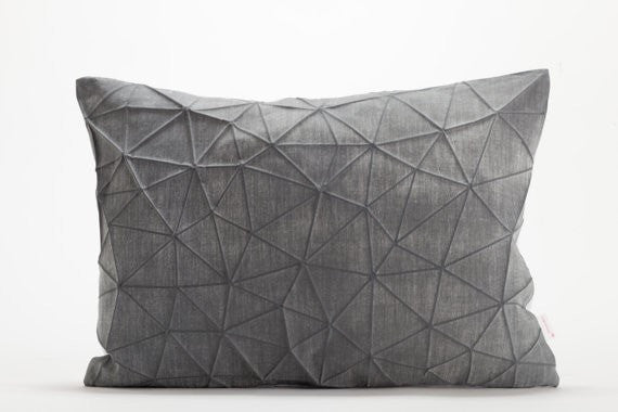 Irad pillow, White and Dark Grey origami throw pillow cover 55x40 cm