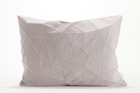 Irad pillow, White and Light Grey origami throw pillow cover 55x40 cm