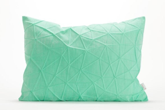 Irad pillow, White and Mint origami throw pillow cover 55x40 cm