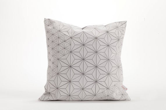 "Tamara Pillow, White and Grey designer throw pillow cover 15.7x15.7"", 40x40 cm"