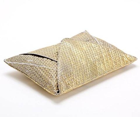 Metallic Foil Print On Fabric clutch bag Grey Print On White Fabric, Coated With Gold Foil, Goldy bag