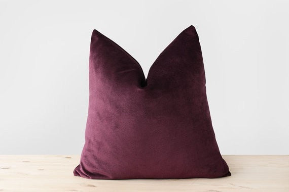 Burgundy Velvet Pillow Cover Oxblood Velvet Throw Pillow Burgundy Cushion Luxury Velvet Lumbar Pillow 20x20 22x22 24x24 - Slab Homewares