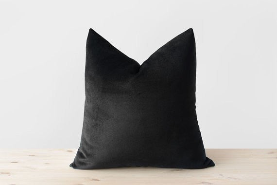 Black Velvet Pillow Cover Solid Black Throw Pillows Black Lumbar Cushion Modern Minimalist Neutral Monochrome Black Decor 18x18 20x20 22x22 - Slab Homewares
