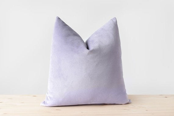 Lilac Purple Velvet Pillow Cover Pastel Purple Cushion Lavender Purple Pillows Cotton Velvet Lumbar Pillow Light Purple Throw Pillows - Slab Homewares