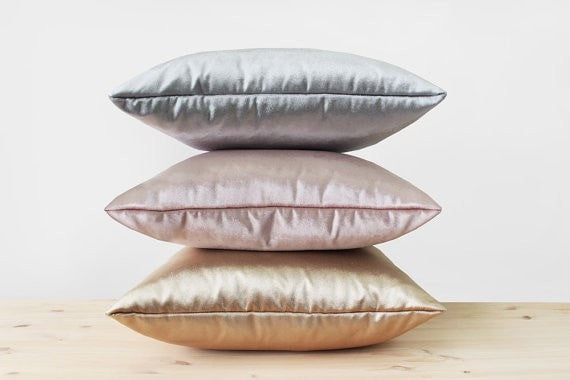 Metallic Velvet Pillow Cover Gold Silver Rose Gold Velvet Pillows Sheen Velvet Cushion Modern Luxury Shiny Solid Rosegold Velvet Pillows - Slab Homewares