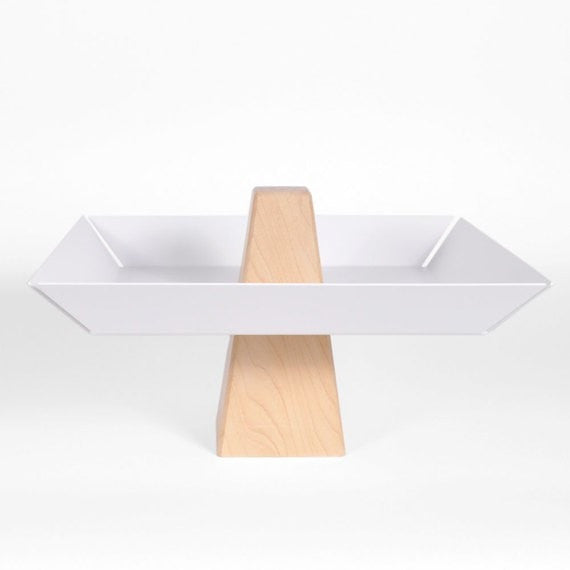 Ansel | Maple & White  - Pedestal Tray, Fruitbowl, Centerpiece - Slab Homewares