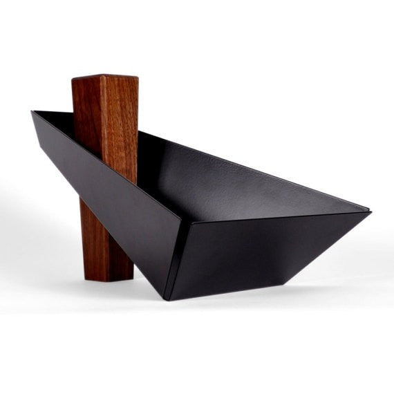 Margo | Walnut & Black - Pedestal Tray, Fruit Bowl, Centerpiece - Slab Homewares