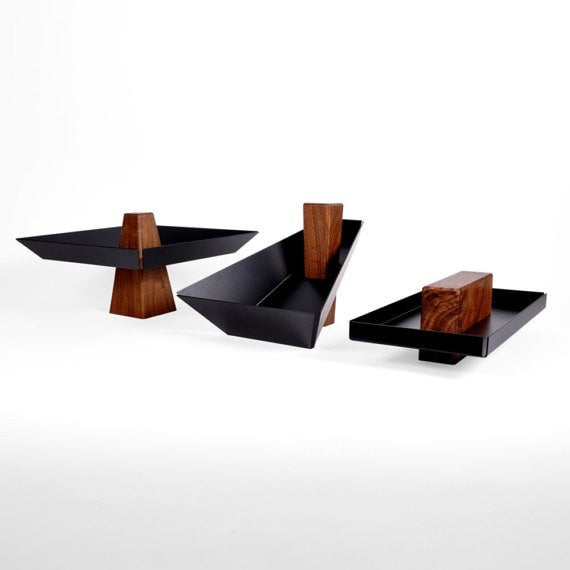 Talbot | Walnut & Black - Pedestal Tray, Catchall, Tray - Slab Homewares
