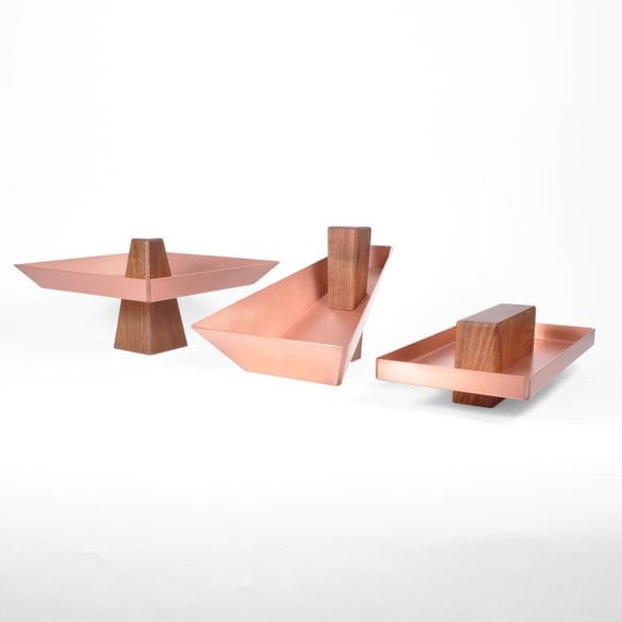 Margo | Walnut & Copper- Pedestal Tray, Fruit Bowl, Dish - Slab Homewares