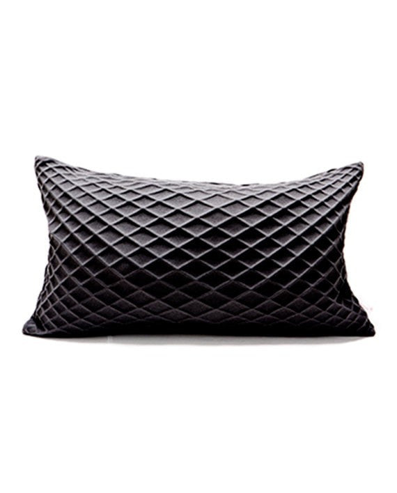 Rotem Black textured pillow cover, 19.6X11.8 inch, 50x30 cm