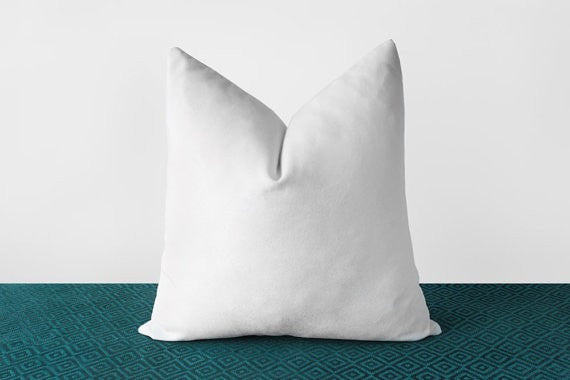 White Velvet Pillow Cover Solid White Throw Pillows White Lumbar Cushion Modern Minimalist White Home Decor Monochrome 18x18 20x20 22x22 - Slab Homewares