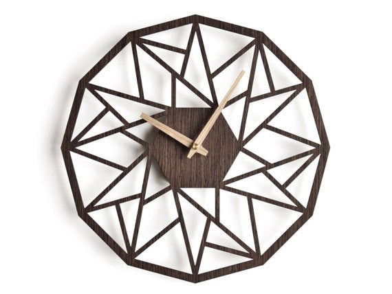 oversized wall clock 30 cm - 12 in | modern clock |  geometric clock | laser cut wall clock |  wenge wall clock | decorative clock | - Slab Homewares