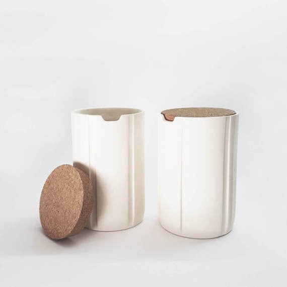 2X ceramic canisters with cork lid, ceramic spice jars, kitchen storage, coffee sugar jars, Scandinavian modern decor, Table centerpiece - Slab Homewares