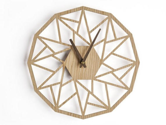 Large wall clock 20 inch -50 cm oak