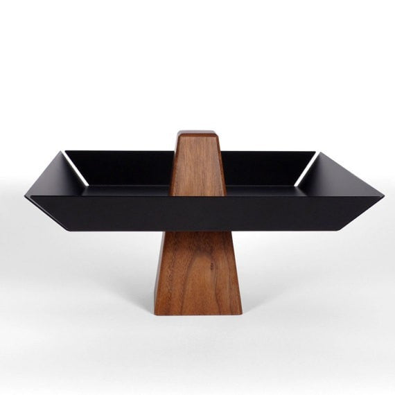 Ansel | Walnut & Black - Pedestal Tray, Centerpiece, Serving Tray - Slab Homewares