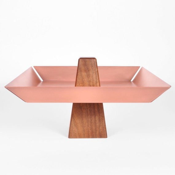 Ansel | Walnut & Copper  - Pedestal Tray, Centerpiece, Pedestal Bowl - Slab Homewares