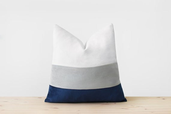 White Gray Navy Velvet Pillow Cover Colorblock Pillows Modern Throw Pillow Blue and White Modern Home Decor Striped Velvet Pillow All Sizes - Slab Homewares