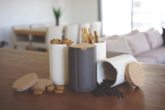 Ceramic jar with a cork lid, ceramic canisters, ceramic storage, kitchen storage jars, coffee jar, sugar jars, Scandinavian modern decor - Slab Homewares